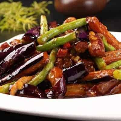 Fried Eggplant with Beans Recipe