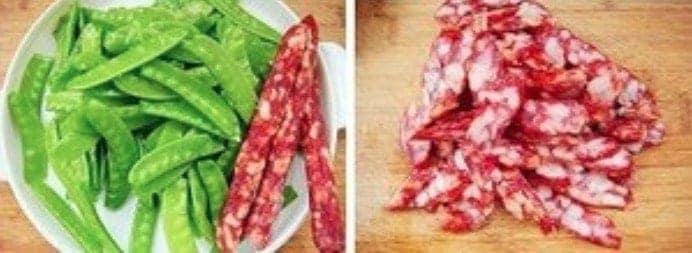 Fried Sausage With Snow Pea Recipe Step1