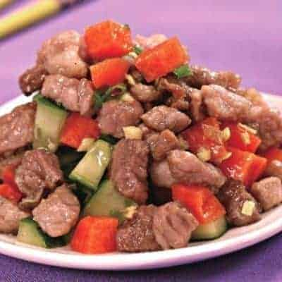 Chinese Sauteed Diced Pork With Vegetables Recipe
