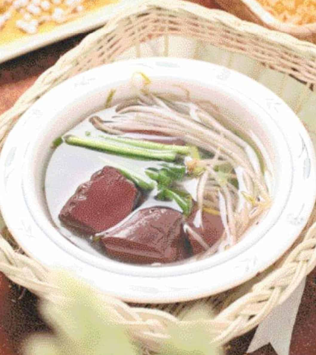 Leek and Pork Blood Curd Soup Recipe